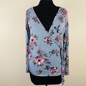 Faux wrap top floral long sleeves comfy stretchy
